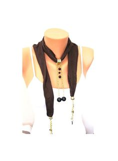 SALE  Brown  Suede Fabric scarf Necklace   with by ArtofAccessory