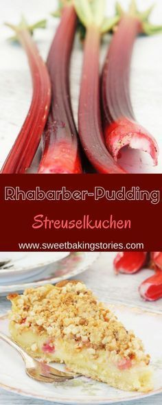 Rhabarber-Puddingkuchen mit Mandelstreuseln
