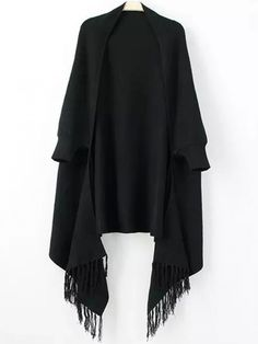 Women Fringe Black Poncho Sweater