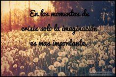 En los momentos de crisis solo la imaginación es mas importante. #Frases Http://isabelbenavides.com/