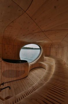 Cool Wooden Curved Grotto Sauna