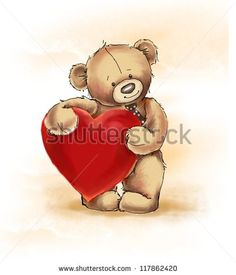Teddy bear with big heart - stock photo