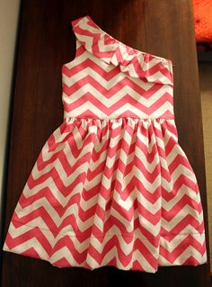 Chevron One Shoulder Dress--Many Colors Available