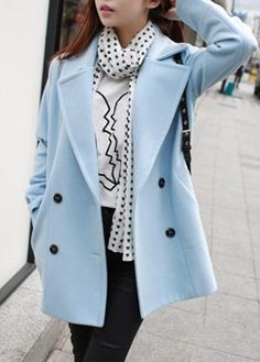 Double Breasted Notch Collar Baby Blue Pocket Coat on sale only US$33.77 now, buy cheap Double Breasted Notch Collar Baby Blue Pocket Coat at lulugal.com
