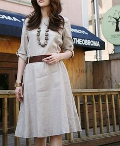 Linen Dress- maybe tie same fabric belt for softer look