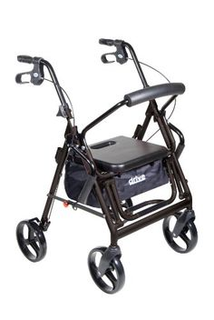 Experience the convenience and value of two outstanding products in a single safe convenient aid to improving daily mobility with the Duet Rollator/Transport Chair from Drive Medical. As a Rollator ...