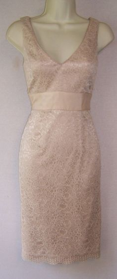 Adrianna Papell. Beige dress with lace overlay