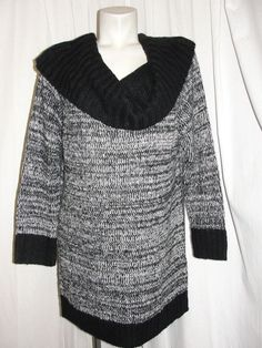 NEW ASHLEY STEWART Womens Sweater Black Wht STRIPED COWL NECK Knit Top Sz 18/20 #AshleyStewart #CowlNeck #Casual