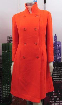 Vintage 60s Aquascutum Long Orange Wool Coat 10 12 Audrey Hepburn Jacket Winter #Aquascutum