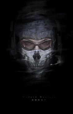 Digital Painting Of Ghost From Call Duty