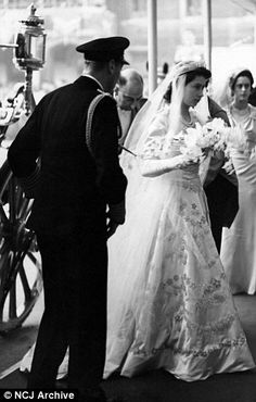 dailymail: Wedding of Princess Elizabeth and Lt. Philip Mountbatten, November 20, 1947-the bride with her father King George VI