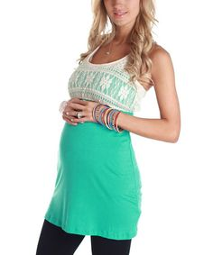 Take a look at this Turquoise Crocheted Maternity Racerback Tunic by PinkBlush Maternity on #zulily today!