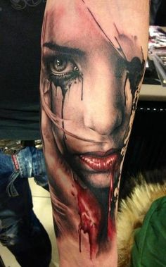 "Stunning #arm #tattoo. I love it when artists use the ""splattered ink"" effect like this!"