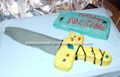 Sword Cake: My nephew wanted a sword cake but when I went online to get ideas there weren't any sword cakes. So for those of you looking for ideas here's one.   I