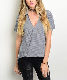 This Navy & Ivory Stripe Surplice Hi-Low Top is perfect! #zulilyfinds