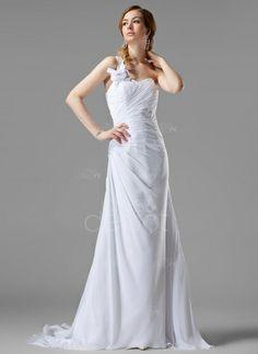 A-Line/Princess One-Shoulder Court Train Chiffon Wedding Dress With Ruffle Beading Flower(s) (002000446) http://www.dressdepot.com/A-Line-Princess-One-Shoulder-Court-Train-Chiffon-Wedding-Dress-With-Ruffle-Beading-Flower-S-002000446-g446 Wedding Dress Wedding Dresses #WeddingDress #WeddingDresses