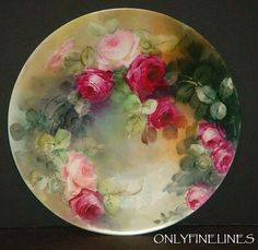 Limoges - Plate - Hand Painted - Pink Roses - Artist Signed - E. Obetz
