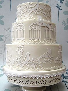 Pretty White Birdcage Wedding Cake Picture | Beautiful Cake ...