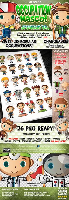 Popular Occupation Mascot Creation Kit  #GraphicRiver         Layered and grouped with smart object PSD file with 300dpi  25 'ready to use' transparent PNG file with 1500pixel  Double click smart object to edit layer  Show/hide layer to change appearance/item  	 Available occupation : Army, Navy, Police, Sheriff, Doctor, Scientist, Athlete, Football Player, Fireman, Astronaut, Boxer, Geologist, Mechanic, Plumber, Manager, Teacher, Contractor, Graduate Student, pirate, Tourist, Farmer…