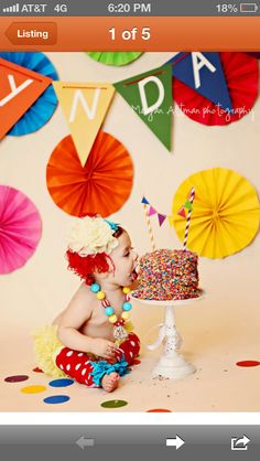 Smash cake photos. Love the sprinkles and the straw/flag banner
