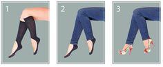 Key Socks: The Knee High No-Show Sock Solution / 24 Genius Clothing Items Every Girl Needs (via BuzzFeed)