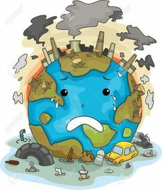 Illustration Of Crying Earth Due To Pollution Stock Photo, Picture And Royalty Free Image. Air Pollution Poster, Water Pollution, Plastic Pollution, Save Mother Earth, Save Our Earth, Save Earth Drawing, Drawing For Kids, Environmental Pollution, Environmental Issues