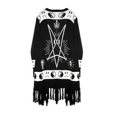 Bummer Poncho (EXCLUSIVE) ($148) ❤ liked on Polyvore featuring outerwear, tops, black, cardigans, dresses, jackets, style poncho, open front poncho and fringe ponchos