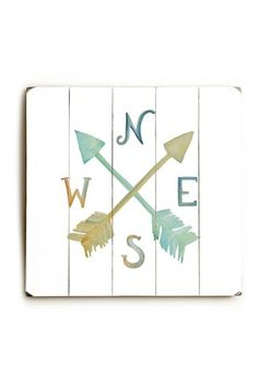 Image of  Colorful Compass Planked Wood Wall Decor by Jennifer Rizzo Design