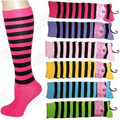 6 LOT KNEE HIGH SOCKS Bright Stripes SCHOOL GIRL PUNK NEW WHOLESALE SALE! #E0309 #KneeHigh $15.00