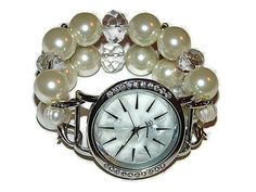 Pearl Bracelet Watch Pearl Beaded Watch Womans by BeadsnTime, $30.00
