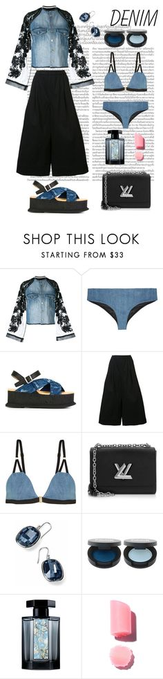 """""""Black and Blue Denim"""" by rnett51 ❤ liked on Polyvore featuring Aviù, Nöe, MM6 Maison Margiela, Tome, Louis Vuitton and L'Artisan Parfumeur"""