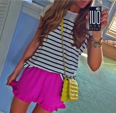 Stripes with pink and a yellow kate spade purse