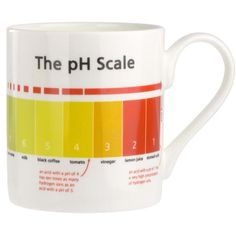 This mug shows the pH scale on it from alkaline to acidic, labelled with example substances from everyday life. An excellent revision tool! Suitable for use in a microwave.
