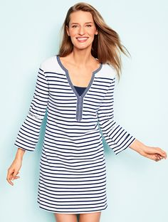 8c50cff35b099 A staple striped cover-up that's simple and stylish. This resort-ready  piece. Talbots
