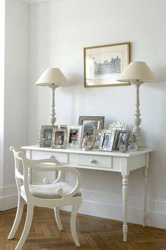 white furniture silver frames.