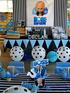 Little Rynoceris 's Birthday / Boss Baby - Photo Gallery at Catch My Party Baby Boy Birthday Cake, Baby Birthday Themes, Boss Birthday, Boy Baby Shower Themes, Boy Birthday Parties, Birthday Fun, Baby Boy Shower, Boy Birthday Pictures, Boss Baby