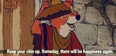 "Disney's ""Robin Hood"" GIF ""Keep your chin up. Someday, there will be happiness again. Disney Films, Disney And Dreamworks, Disney Pixar, Walt Disney, Disney Characters, Disney Dream, Disney Love, Disney Magic, Disney Stuff"