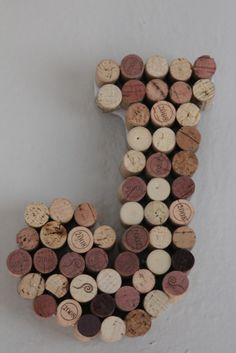 Initials/Letters made out of wine corks.