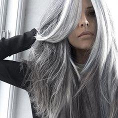 long grey hair styles over 50 Long Gray Hair, Silver Grey Hair, White Hair, Grey Hair At 40, Cool Haircuts For Girls, Girl Haircuts, Salt And Pepper Hair, Pelo Natural, Natural Hair