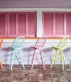 take a seat - color crush at the Colony Hotel in Palm Beach - by Cream Bar Stools, Pink Bar Stools, Colored Bar Stools, Pastel Interior, Bar Interior, Interior Design, Palm Beach Decor, Beach House Decor, Pastel Kitchen