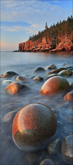 "Otter Cliffs ""Yin Yang"", Acadia National Park, Maine. Camp Runoia campers and counselors are lucky to go here! #nationalparks"