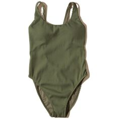 Hollister Ribbed High-Leg One-Piece Swimsuit ($45) ❤ liked on Polyvore featuring swimwear, one-piece swimsuits, olive, one piece bathing suits, retro bathing suits, olive green one piece bathing suits, 1 piece swimsuit and olive green bathing suit