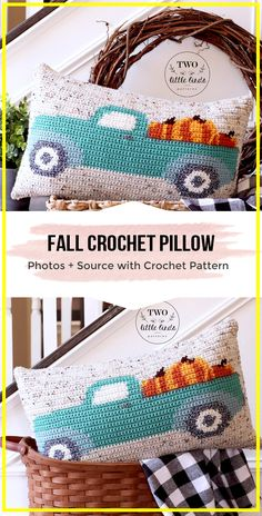 Crochet Projects crochet Fall Crochet Pillow pattern - easy crochet Pillow Pattern for beginners Crochet Fall Decor, Crochet Christmas Decorations, Crochet Decoration, Autumn Crochet, Crochet Geek, Crochet Home, Crochet Crafts, Easy Crochet, Crochet Projects To Sell