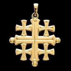Gracious Rose offers the Gold Jerusalem Cross pendant. Jewish Jewelry, Religious Jewelry, Jerusalem Cross, Four Gospels, Old Rugged Cross, Cool Things To Buy, Old Things, The Cross Of Christ, Cross Paintings