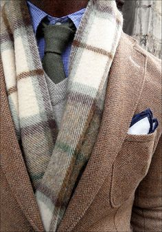 Manly! Cozy layers:  checked button down shirt, textured tie, v-neck sweater, plaid scarf, and herringbone blazer