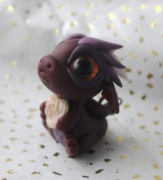Maroon and Purple Baby Dragon with Heart Lock and Key