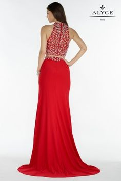 Alyce Paris - 1160 Beaded Illusion Halter Two-Piece Gown Two Piece Gown, Jersey Skirt, Beaded Top, Prom Dresses, Formal Dresses, Bodice, Neckline, Dress Collection, Illusion