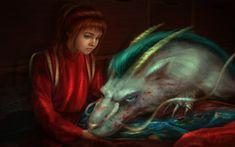 """Chihiro and Haku by PerlaMarina.deviantart.com on @deviantART - From Miyazaki's """"Spirited Away"""""""