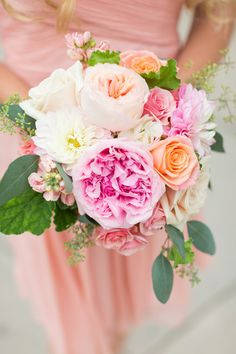 Pink bouquets - garden roses, spray roses + dahlias {Maison Meredith Photography}