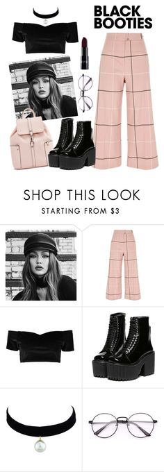 """""""Black Booties"""" by mississippimsu ❤ liked on Polyvore featuring Maybelline, River Island and Boohoo"""